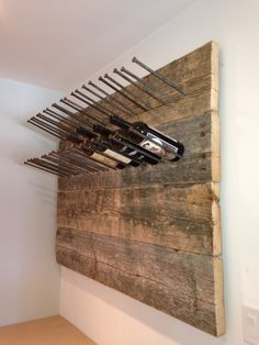 DIY reclaimed wood wine rack. @J Henzo @Russell Groves Henrie   Here are some projects for you!!