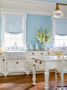 Introducing our newest collaboration, AERIN for The Shade Store. Vintage inspired, yet modern. Roman shades, drapery and roller shades in beautiful prints and patterns. Link in bio to learn Elle Decor Magazine, Relaxed Roman Shade, Hamptons Kitchen, Aerin Lauder, Custom Roman Shades, Vintage Inspired, New Homes, Blue And White, Interior Design