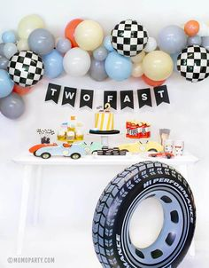 2nd Birthday Party For Boys, Second Birthday Ideas, Race Car Birthday, Race Car Party, Cars Birthday Parties, Car Themed Birthday Party, Kids Birthday Themes, Toddler Boy Birthday, Boy Theme Party