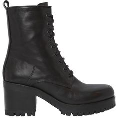 Strategia Women 50mm Leather Lace-up Boots (23.445 RUB) ❤ liked on Polyvore featuring shoes, boots, ankle booties, black, rubber sole boots, strategia, mid heel booties, black side zip boots and mid heel boots