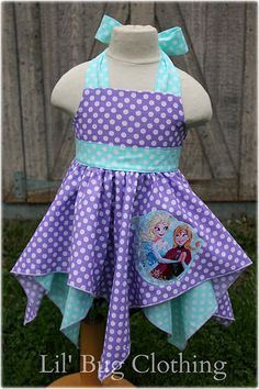 Custom Boutique Disney Frozen Anna Elsa Polka Dot Teal And Lavender Handkerchief Party Dress