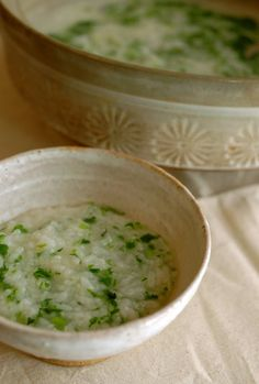 Japanese rice porridge with seven herbs, Nanakusa-gayu 七草粥
