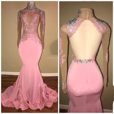 Elegant Pink Mermaid Prom Dresses | High Neck Open-Back Beaded Evening Gowns_Wholesale Wedding Dresses, Lace Prom Dresses, Long Formal Dresses, Affordable Prom Dresses - High Quality Wedding Dresses - Yesbabyonline.com