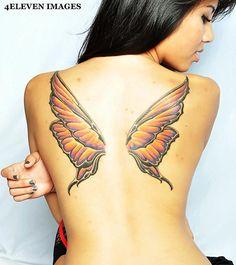 Tatuagem Feminina nas Costas Asas Borboleta - www.vaidosas.com.br