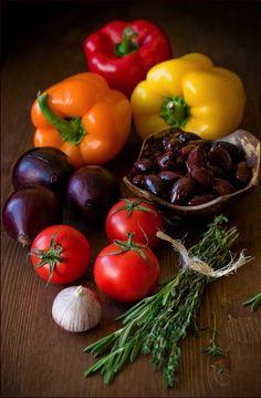 Fresh Yellow, Orange & Red Bell Peppers, Purple Onions, Garlic, Rosemary, etc.