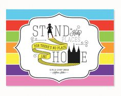 """Stand in holy places, for there's no place like home"" I created this custom girls camp graphic a few weeks ago. Girls camp is for girls . Church Activities, Camping Activities, Camping Crafts, Activity Day Girls, Activity Days, Wizard Of Oz Quotes, Young Women Lessons, Church Graphic Design, Personal Progress"