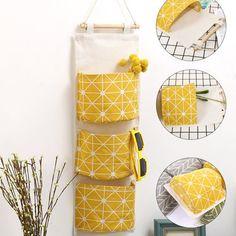 Linen 3 Pocket Simple Style Wall Hanging Storage Bag Bedroom Key Sunglasses Organizer