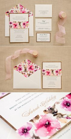 Wow! Perfect for a spring or summer wedding! This gorgeous wedding invitation from @engagingpapers features a wood base and romantic floral belly band. The couples name is printed in gold metallic ink. The floral pattern is repeated on the envelope liner for the finishing touch!
