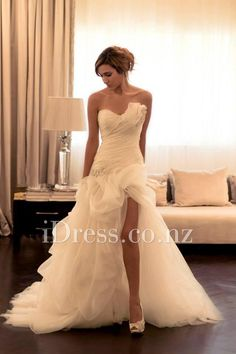 asymmetrical strapless pleated ruffled gorgeous wedding dress