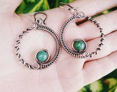 Green jade hoop earrings copper wire earrings wire wrapped jewelry earrings jade hoops copper, jade jewelry, copper wire hoops wire