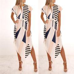 5836d4555df87 Summer Dress Women Casual Short Sleeve V Neck Printed Maxi Dress With Belt  Knee-Length Vestidos Verano 2018 vestidos de fiesta