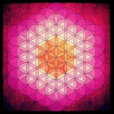 "@resonanceproject's photo: ""#art by @APOLLO BREEZE Any 2D version of the #FlowerofLife is simply a flattened version of what is a 3 dimensional structure. If you put spheres around each of the tetrahedra of a 64 #tetrahedron grid, you get a 3D Flower of Life."