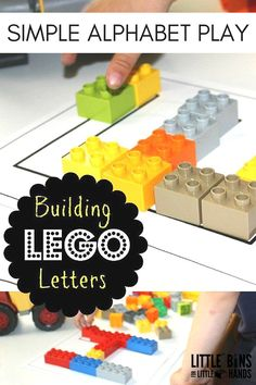 LEGO letters and building the alphabet with LEGO for preschool and kindergarten age kids. Trace letters, write letters, build letters for hands on play and learning and early childhood development.