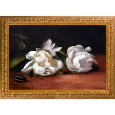 La Pastiche Edouard Manet 'Branch Of White Peonies' Hand Painted Framed Oil Reproduction on Canvas