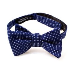 Navy Blue and White Polka Dot Bow Tie