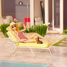 """No plans today! Ms. Honey and I will be hanging poolside all day, enjoying our new backyard!  #barbie #barbiestyle"""