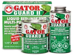 Gator Guard II Liner Kit in white seals and protects your truck bed A truck bed that's lined with a tough, durable coating like Gator Guard II increases your truck's resale value, reduces maintenance, and adds a nicely detailed look. Bedliner Paint Job, Truck Bed Liner, White Seal, Paint Prep, White Truck, The Cure, Trucks, Kit, Epoxy