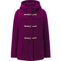 WOMEN WOOL BLENDED SHORT DUFFEL COAT ❤ liked on Polyvore featuring outerwear, coats, purple coat, short coat, uniqlo coat, uniqlo and wool blend coat
