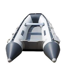 Inflatable Sea Tender Dinghy Boat Rib Raft With Floor Gray Oars Carry Bag Pump