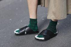 socks and Céline slides