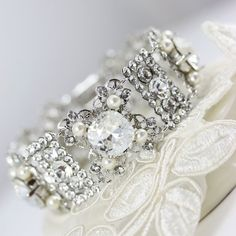 Rhinestone Wedding Bracelet Vintage filigree by LuluSplendor, $150.00