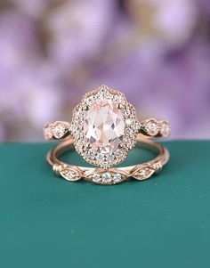 Morganite engagement ring set rose gold engagement ring diamond art deco wedding vintage oval gift for women Anniversary Valentines Day gift by GemsOdes on Etsy https://www.etsy.com/listing/585348953/morganite-engagement-ring-set-rose-gold