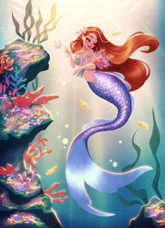 (Not my art) Happy spring! Here's a new mermaid! I thought it'd be cute if she was making a coral bouquet. Ever since I've stopped overly designing the… Fantasy Mermaids, Unicorns And Mermaids, Mermaids And Mermen, Peter Pan Mermaids, Mermaid Artwork, Mermaid Drawings, Art Drawings, Disney Art, Mermaid Fairy