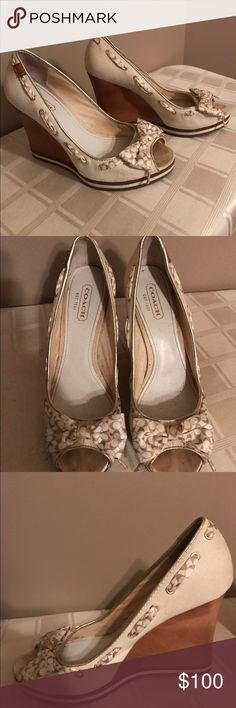 Offwhite coach wedge shoes Offwhite coach wedge shoes. Worn a few times. A little dusty on the offwhite but you cant tell when wearing them. Open to offers. Purchased at Lord and Taylor Coach Shoes Wedges