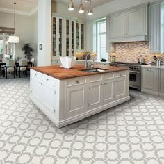 Tile-effect vinyl flooring | Kitchen flooring | PHOTO GALLERY | Beautiful Kitchens | Housetohome.co.uk
