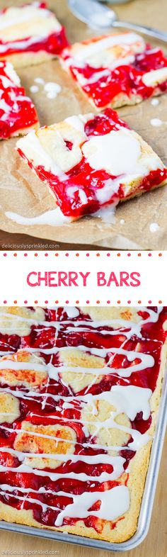 CHERRY BARS- Moist cake bars with cherry filling and sweet vanilla icing drizzle. These are always a HUGE hit at a party!