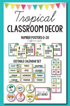 Tropical Classroom Theme Decorations - this set of classroom decor will help you. - Real Time - Diet, Exercise, Fitness, Finance You for Healthy articles ideas Classroom Decor Themes, Classroom Jobs, Classroom Organization, Teaching Activities, Classroom Activities, School Resources, Teacher Resources, Library Labels, Teacher Tools