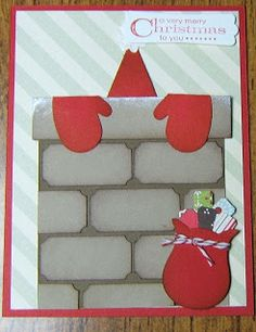 Santa in chimney punch art - bjl