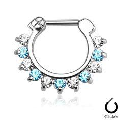 Buy now at www.gekkobodyjewellery.com -  Aqua and Clear Gem Septum Clicker Nose Daith Surgical Steel