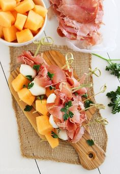 Melon, Proscuitto and Mozzarella Skewers – These sweet and salty skewers with prosciutto, melon and creamy mozzarella are easy bites for any party!   thecomfortofcooking.com