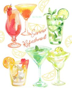 Refeshing summer cocktails cocktails such as the mojito, margarita, hurricane, tequila sunrise, and aperol. Watercolor and procreate food and drink illustration. Ohn Mar Win. Packaging, design, editorial, branding, advertising.
