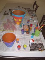 painting clay pots- Monday