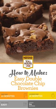 Easy Double Chocolate Chip Brownies are a chocolate lover's dream. No Bake Desserts, Just Desserts, Delicious Desserts, Dessert Recipes, Brownie Recipes, Cookie Recipes, Double Chocolate Brownies, Chocolate Desserts, Cheesecake Toppings