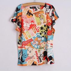 CAYA BOX , Print summer style Mickey prinit t shirt women Tops Top Shirt Women Harajuku Women Clothing Tops Tshirt Printed Tees, Printed Shorts, Printed Cotton, Animal Print T Shirts, Shirt Print, Harajuku, Cartoon T Shirts, Disney Tees, Plus Size T Shirts