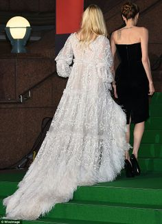 "yearoftheprism: "" "" Check out Angelina Jolie and Elle Fanning at the Maleficent premiere in Japan today. They've done this often on the press tour – dress to their characters. Fanning's in princess. Stunning Dresses, Pretty Dresses, Celebrity Red Carpet, Celebrity Style, Boho Wedding Dress, Wedding Dresses, Elle Fanning, Hollywood Glamour, Looking Stunning"