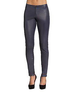 Alice   Olivia Front-Zip Leather Legging