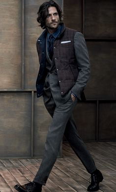 Brunello Cucinelli Online Store - vest over suit jacket - interesting male fashion #layering #menstyle #RMRS