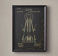 "Edison Lightbulb Patent Document (Black) American inventor Thomas Alva Edison held more than 1,000 patents in the United States, the most famous of which are for his electric light bulbs and lamps.  Dimensions     Small: 18½""W x 1¾""D x 25½""H; 5 lbs.     Medium: 28½""W x 1¾""D x 41½""H;"