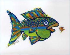 Whimsical Funky Fish Art Print Colorful Creative Affordable Wall Decor. $12.00, via Etsy.