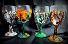 Second set of Seasons wine glasses.  Polymer clay.