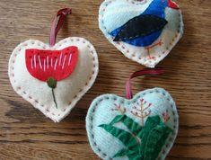 Kiwiana Vintage Hearts  | Felt