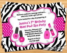Spa Party Kids Birthday Invitation by eventfulcards on Etsy
