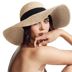 EXCHIC Women Straw Hat UPF 50 Hand-Weaved Foldable Beach Hat with Neck Cord