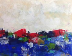 Colorful abstract seascape on paper  Love Blue Sea by lindadonohue