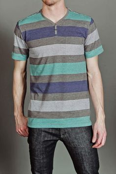 One90One Patience S/S Henley Grey Multi