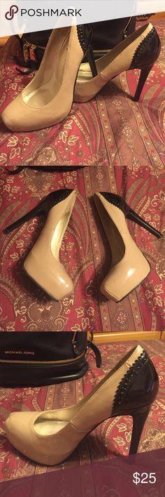 Tan & black Kardashian pumps High heeled tan and black closed toe Kardashian Kollection pumps Kardashian Kollection Shoes Heels